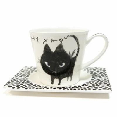 Shinzi Katoh シンジカトウ 【コーヒー 碗皿 Blackネコ】(カップ マグ かわいい おしゃれ キャラクター ねこ ネコ ギフト セット 食器 内