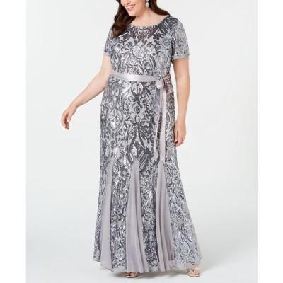 アールアンドエムリチャーズ ワンピース トップス レディース Plus Size Embellished Godet Gown Silver