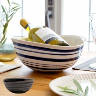 ボウル 信楽焼 幅24cm ホワイト ブラック 焼物 和 鉢 ボーダー 大皿 ワインクーラー 丸十製陶 盛り鉢 ボウル皿 食器 陶器 おしゃれ