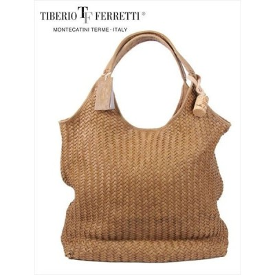 TIBERIO FERRETTI SACCA イントレチャート ショッピング型メッシュバッグ オリーブ メッシュレザーバッグ ティベリオフェレッティ サッカ 国内正規品