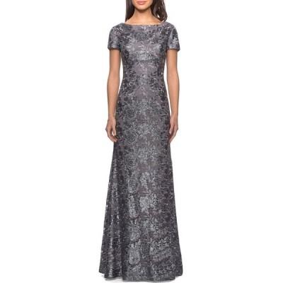 ラフェム レディース ワンピース トップス Short-Sleeve Metallic Lace Gown