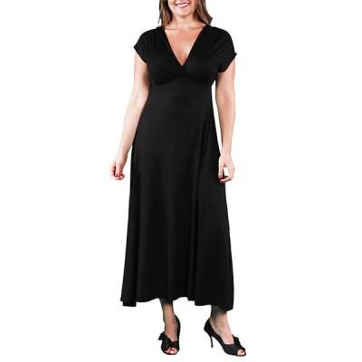 24セブンコンフォート レディース ワンピース トップス Plus Size Empire Waist V Neck Maxi Dress