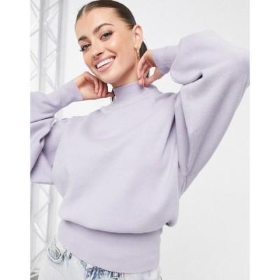 エイソス ASOS DESIGN レディース ニット・セーター トップス high neck jumper with batwing sleeves in soft lilac ライラック