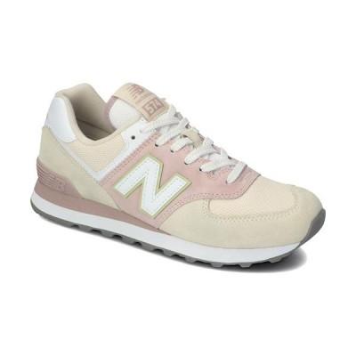 ニューバランス(New Balance) レディース スニーカー ホワイト/ピンク WL574 LBL B 靴 カジュアル ウォーキング ジョギング 散歩 ジム フィットネス