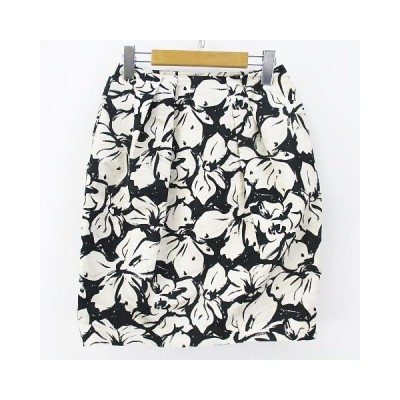 【中古】ボールジー BALLSEY トゥモローランド 花柄 膝丈 台形 スカート 34 ホワイト 白系 ブラック 黒系 日本製   レディース 【ベクトル 古着】