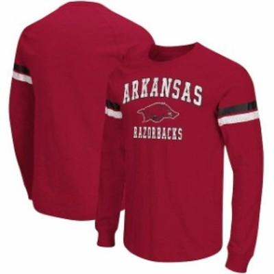 Colosseum コロセウム スポーツ用品  Colosseum Arkansas Razorbacks Cardinal Huddle Up II Striped Long Sleeve T-Shirt