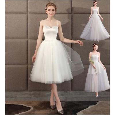 ウエディングドレス 二次会 ドレス オードリーミモレ ベール付き 結婚式 花嫁 二次会 3タイプ ウェディングドレス ミモレ丈 ミニドレス ホワイト