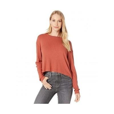 Hard Tail ハードテイル レディース 女性用 ファッション Tシャツ Long Sleeve Crop Tee - Rust