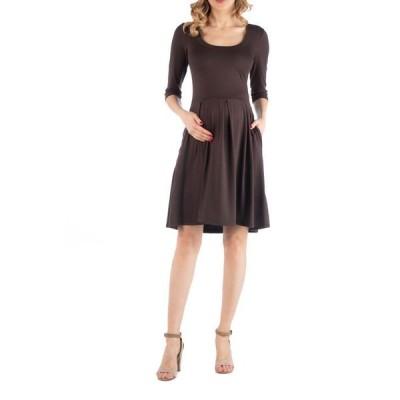 24セブンコンフォート レディース ワンピース トップス Fit and Flare Scoop Neck Maternity Dress