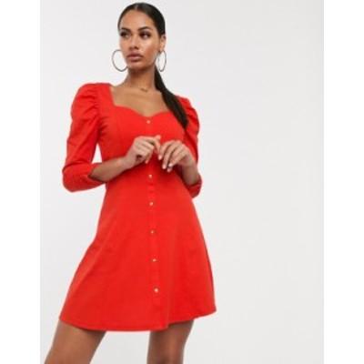 エイソス レディース ワンピース トップス ASOS DESIGN long sleeve puff sleeve popper front tea dress Red
