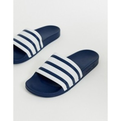 アディダス メンズ サンダル シューズ adidas Originals Adilette sliders in navy Navy