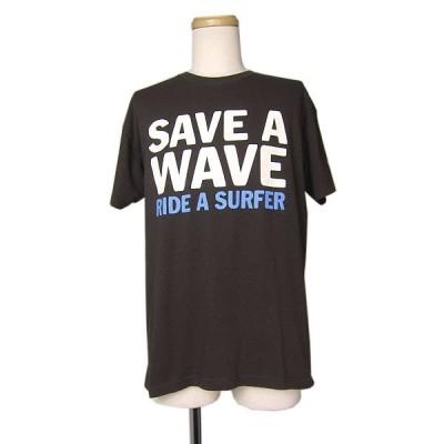 プリント Tシャツ サーファー メッセージ メンズ Mサイズ ティーシャツ 茶系 古着 ユーズド