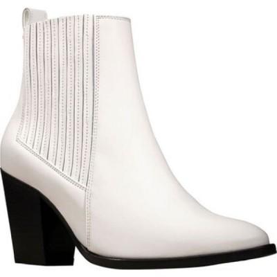 クラークス Clarks レディース ブーツ シューズ・靴 West Lo Heeled Bootie White Leather