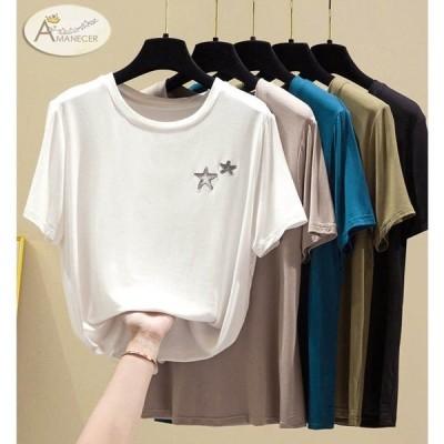 Tシャツ 刺しゅう 星 スター シンプル 無地 ラウンド襟 伸縮性 半袖 レディース トップス