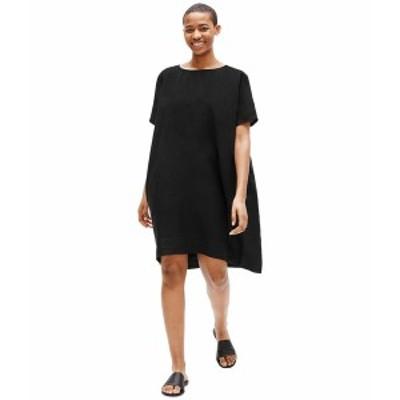 エイリーンフィッシャー レディース ワンピース トップス Round Neck Short Sleeve Dress Black