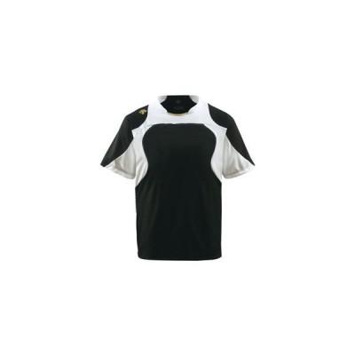 デサント(DESCENTE) ベースボールシャツ (野球) DB115 ブラック×Sホワイト×Sゴールド L