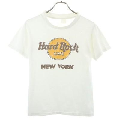 HARD ROCK CAFE NEW YORK ロゴ プリント 半袖 Tシャツ 白 ハードロックカフェ ニューヨーク メンズ 古着 200703 メール便可