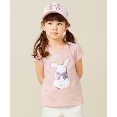 【エニィファム(キッズ)】 ミラクルスパンコール 半袖Tシャツ キッズ ピンク系 120 anyFAM KIDS