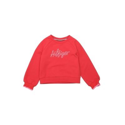 YOOX - トミーヒルフィガー TOMMY HILFIGER スウェットシャツ レッド 3 オーガニックコットン 95% / ポリウレタン 5%