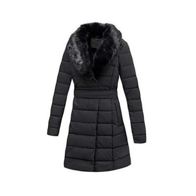 Giolshon パファージャケット レディース 冬用コート 取り外し可能なフェイクファー襟付き US サイズ: XX-Large カラー: ブラック