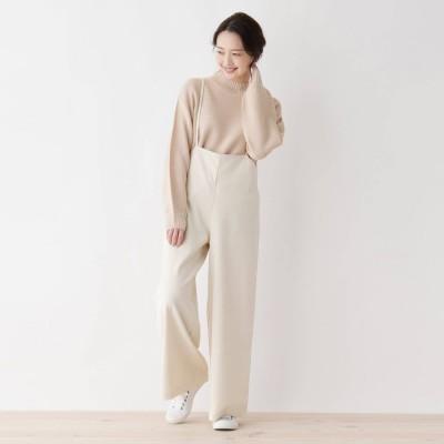 シューラルー SHOO-LA-RUE 【フリーサイズ】細コールワイドサロペット (オフホワイト)