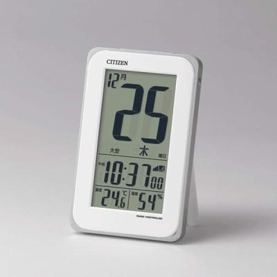 CITIZEN シチズン 目覚まし時計 電波時計 カレンダー 日めくり スマートコートS 白 8RZ139-003