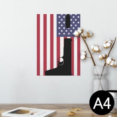 ポスター ウォールステッカー シール式 210×297mm A4 写真 壁 インテリア おしゃれ wall sticker poster アメリカ 国旗 銃 011696