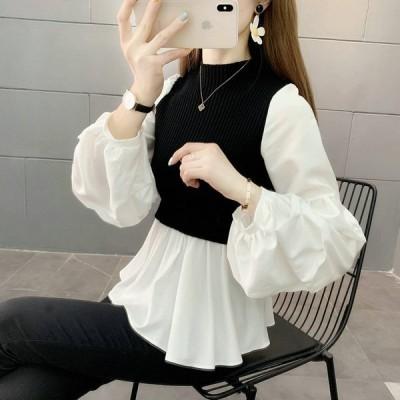 長袖カットソー フェイクレイヤード レディース トップス ベスト 白シャツ 重ね着風 無地 オフィスカジュアル 大人 きれいめ 女性 バルーンスリーブ