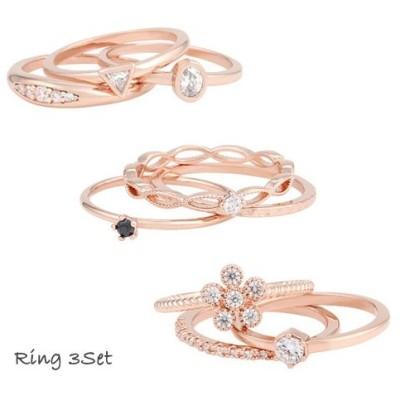 【送料無料】おしゃれな指輪3点セット リング ring キュービック 指輪 シルバー ゴールド ピンクゴールド ローズゴールド ギフト プレゼント かわいい