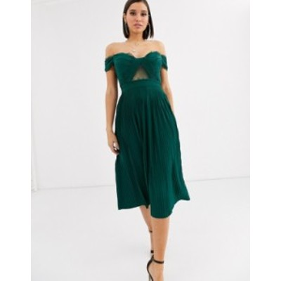 エイソス レディース ワンピース トップス ASOS DESIGN lace and pleat bardot midi dress Forest green