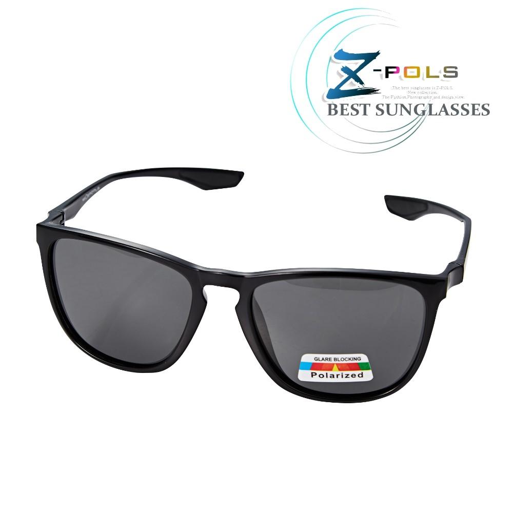【Z-POLS】名牌風格TR90輕量框體材質 搭頂級Polarized寶麗來偏光黑抗UV400太陽眼鏡