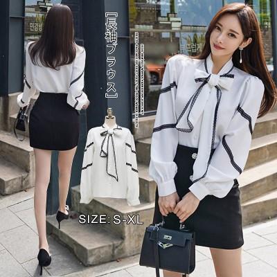 送料無料 2020春 韓国ファッション 春夏/ ブラウス新追加限定発売バルーン袖 着痩せ Chicフリルブラウス長袖シャツブラウスZX804