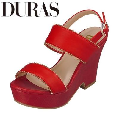 デュラス DURAS DR9402 レディース | サンダル | クッション性 インソール | ゴールド飾り | バックベルト 安心 | レッド