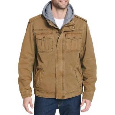 リーバイス メンズ ジャケット・ブルゾン アウター Levi's Men's Sherpa Lined Hooded Utility Jacket Worker Brown