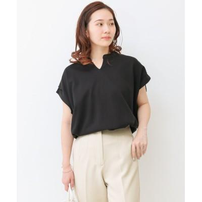 (SocialGIRL/ソーシャルガール)キーネックフレンチスリーブTシャツ/レディース ブラック