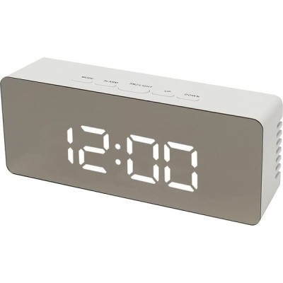 テラスLEDミラークロックL 置き時計 置時計 デジタル デジタル時計 LED アラーム スヌーズ 温度 ナイトモード シンプル USB 乾電池 ME