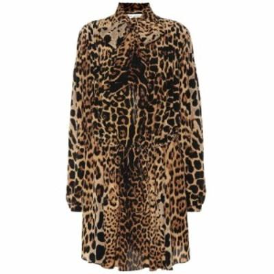 イヴ サンローラン Saint Laurent レディース ワンピース ワンピース・ドレス Leopard-printed silk dress Leopard