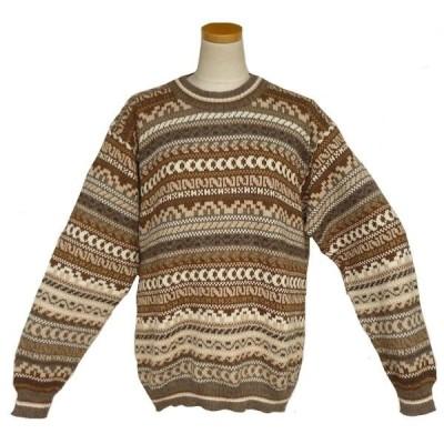 ALC-060 アルパカ100%セーター 丸首 幾何学柄 男性 暖かい 綺麗