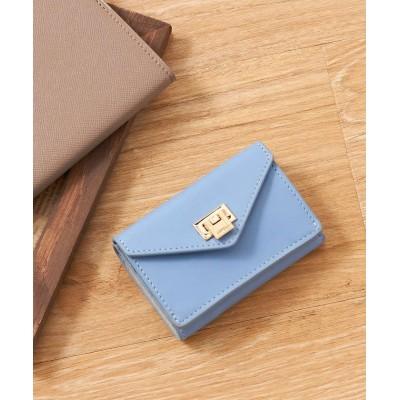 【ロウェル シングス】 薄型3つ折財布 レディース ライト ブルー F LOWELL Things