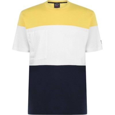 ポール シャーク PAUL AND SHARK メンズ Tシャツ トップス Colour Block Zip T Shirt Wht/Yel/Nvy