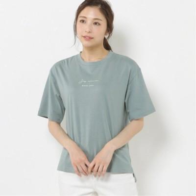 しっかり生地で綿100%◎ロゴ入りTシャツ グリーン M L LL