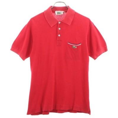 ラコステ 70s フランス製 半袖 ポロシャツ 赤 LACOSTE 70年代前期 メンズ 古着 200603 【Pdown20】