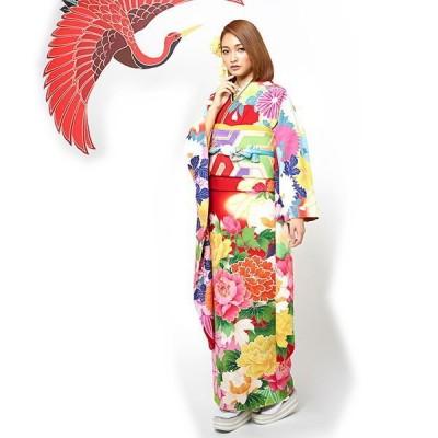 振袖 着物 袷 洗える着物 単品 JAPAN STYLE お仕立て上がり絵羽着物 牡丹と菊(アカ FJ16)成人式 絵羽 花柄 ぼたん きく 赤