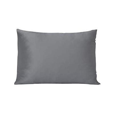 BIGHAS シルク 枕カバー 100%蚕糸シルク 43x63cm 1個 19匁 ピローケース 両面シルクタイプ(ダークグレー 43×63cm)