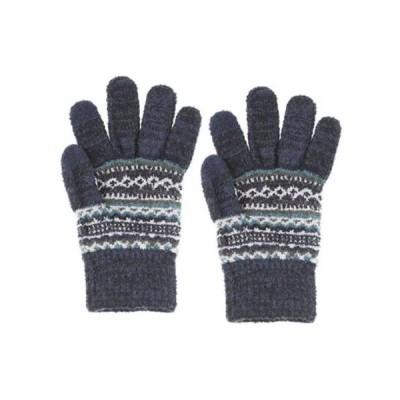 (グローブデポ)GlovesDEPO メンズ【ふわもこ】ニット手袋/リブ2重構造カフス 幾何学変則ボーダー柄 ネイビー F
