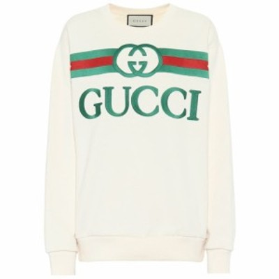 グッチ Gucci レディース スウェット・トレーナー トップス Oversized logo cotton sweatshirt Natural/Multicolor
