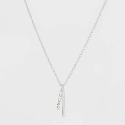 ターゲット target レディース ネックレス ジュエリー・アクセサリー Sterling Silver Double Bar Cubic Zirconia Necklace - Silver