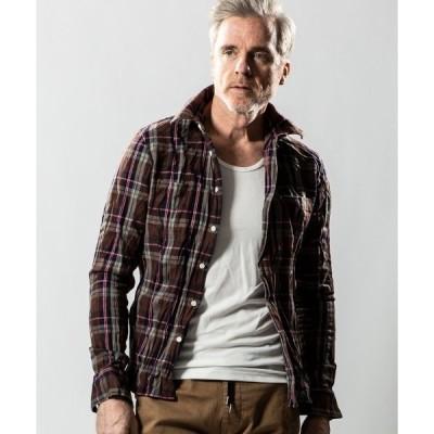シャツ ブラウス ms4289-wrinkle check shirt シャツ