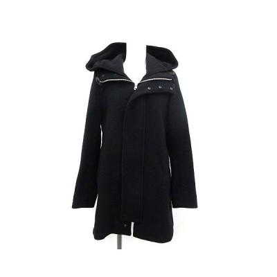 【中古】ズッカ zucca コート アウター ロング フード ウール S 黒 ブラック /KH レディース 【ベクトル 古着】