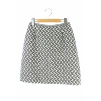 【中古】16年  幾何シャギーAラインスカート  グレー 白